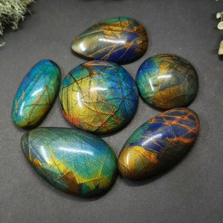 6 cabochons Faux Labradorite Stone from Polymer Clay #5