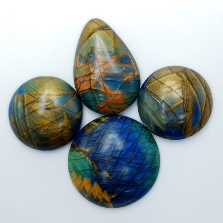4 cabochons faux labradorite stone from polymer clay #1