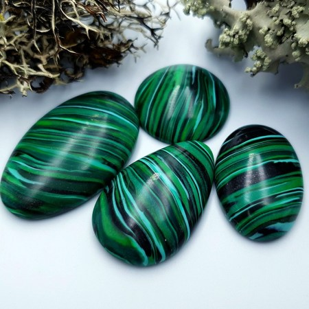 4 pcs Beads Faux Malachite from Polymer Clay (Set #1)