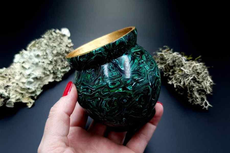 Faux Malachite Stone Vase 20191012_212402