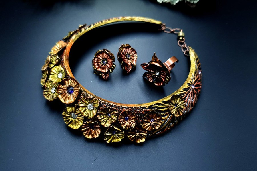 Flowers in Metal 2 Jewelry Set 20191011_135725