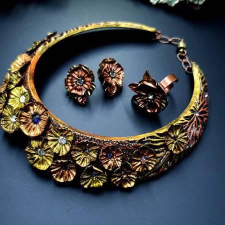 Flowers in Metal 2 Jewelry Set
