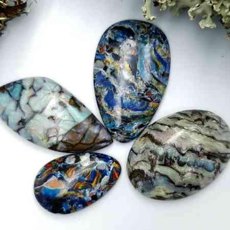 4 pcs Labradorite Pietersite Stone Mix (Set #11)