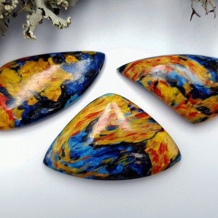 3 pcs Faux Pietersite Stones from Polymer Clay (Set #7)