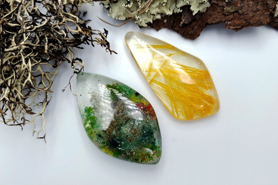 UV Resin Faux Moss Agate Faux Rutilated Quartz Set 02 p01