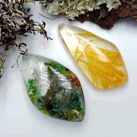 UV Resin Faux Moss Agate & Rutilated Quartz 2 Stones