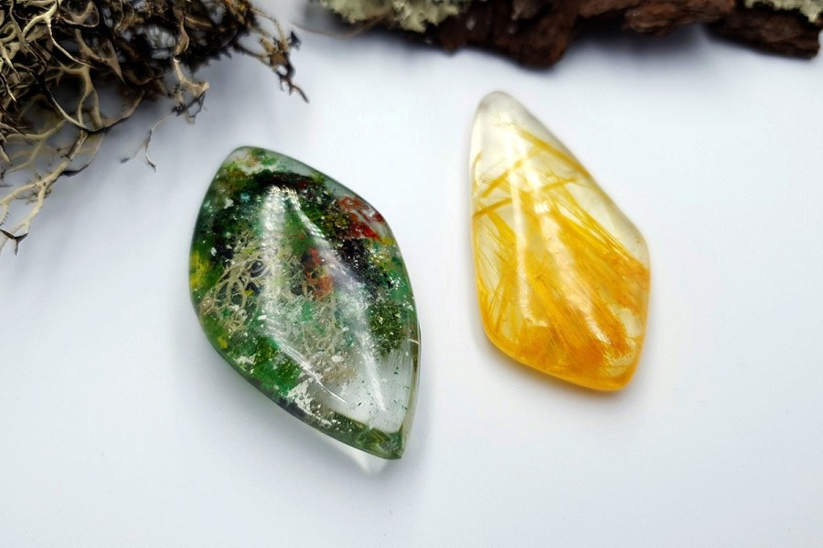 UV Resin Faux Moss Agate Faux Rutilated Quartz Set 02 p04