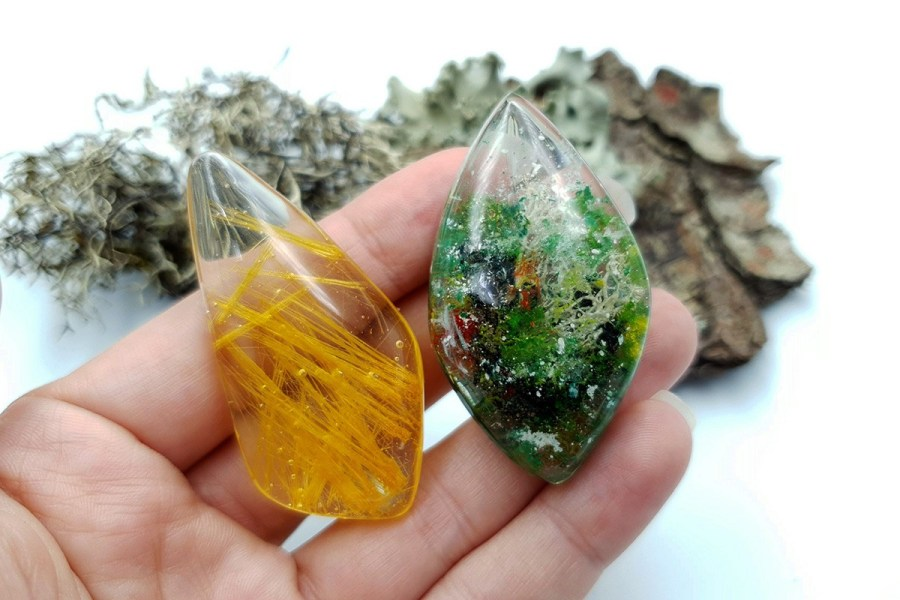 UV Resin Faux Moss Agate Faux Rutilated Quartz Set 02 p11