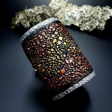 Wide Bracelet Cuff River Stones