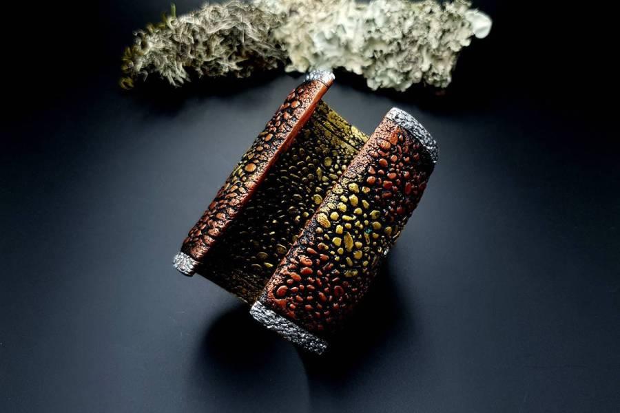 Wide Bracelet Cuff River Stones img03