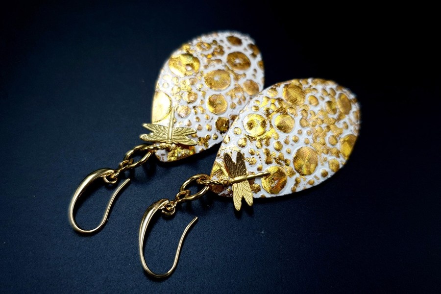 Earrings Golden Dragonfly and Sun 10