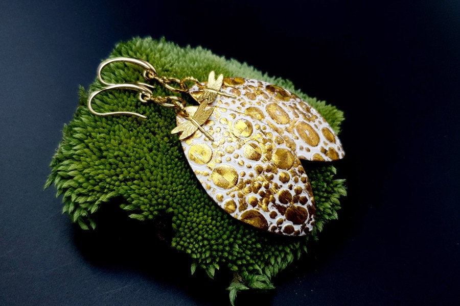 Earrings Golden Dragonfly and Sun 7