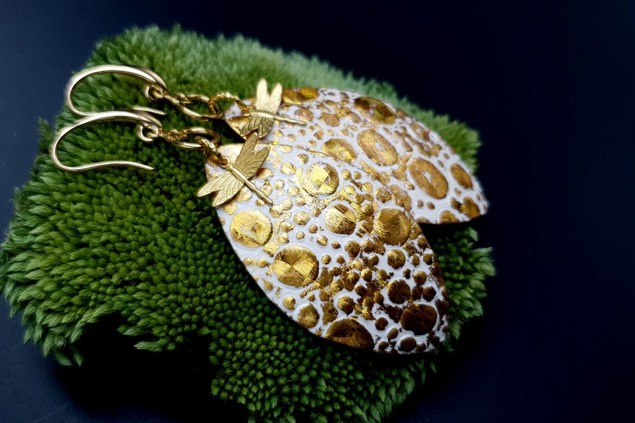 Earrings Golden Dragonfly and Sun 8