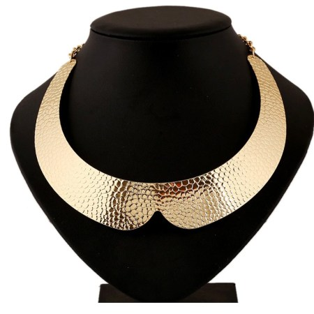 Metal gold color textured base for necklace
