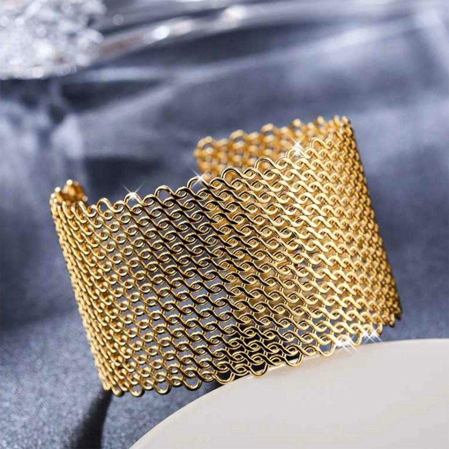 Metal gold color textured bracelets tool for baking 5