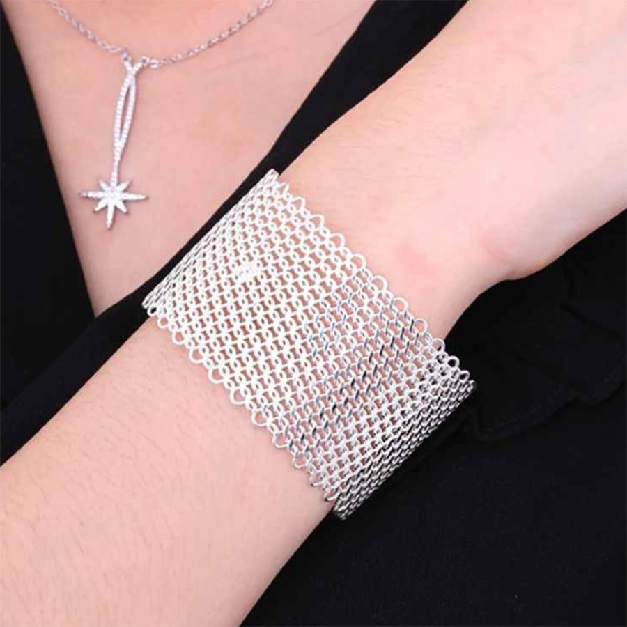 Metal silver color textured bracelets tool for baking 10