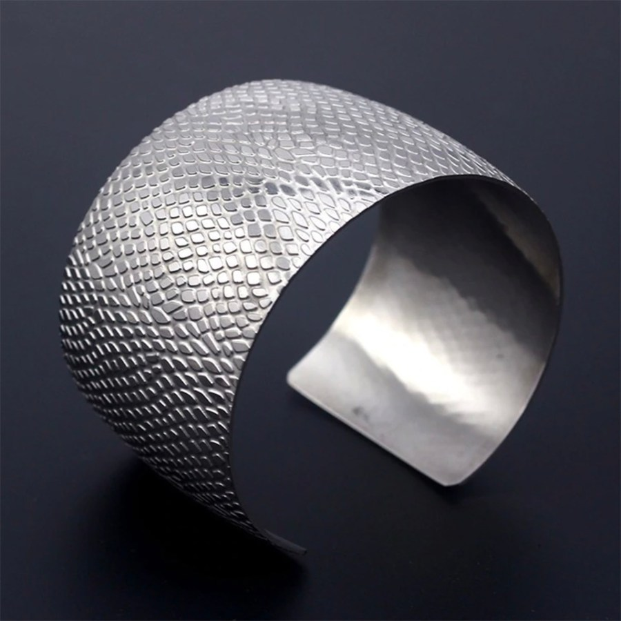 Silver color textured base for baking polymer clay bracelet 2