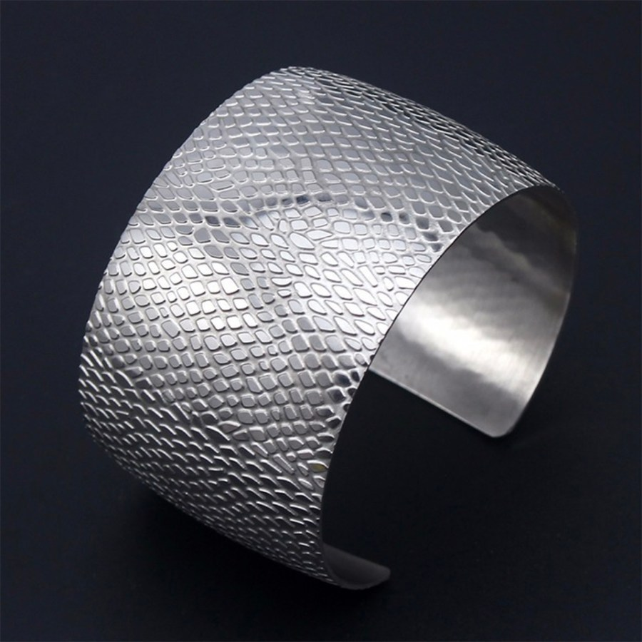 Silver color textured base for baking polymer clay bracelet 3