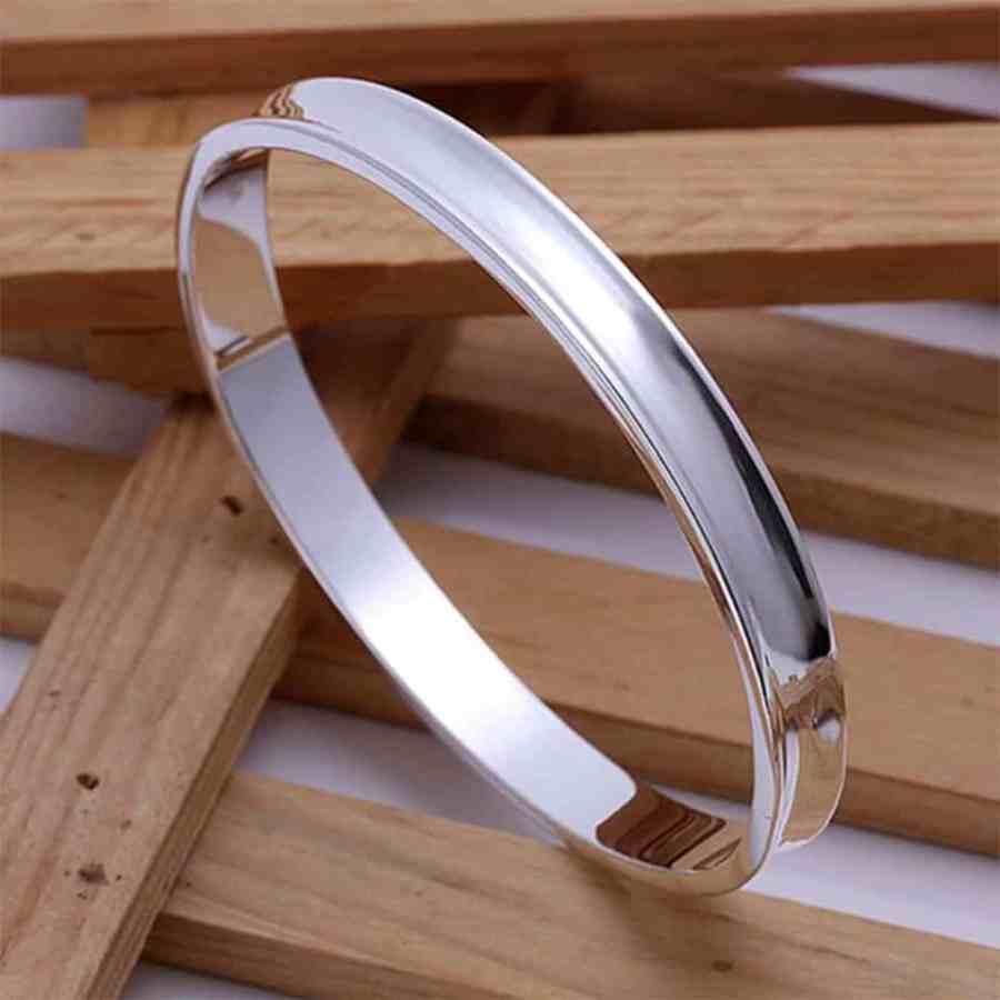 Silver plated bangle base bracelet 6.5cm 1