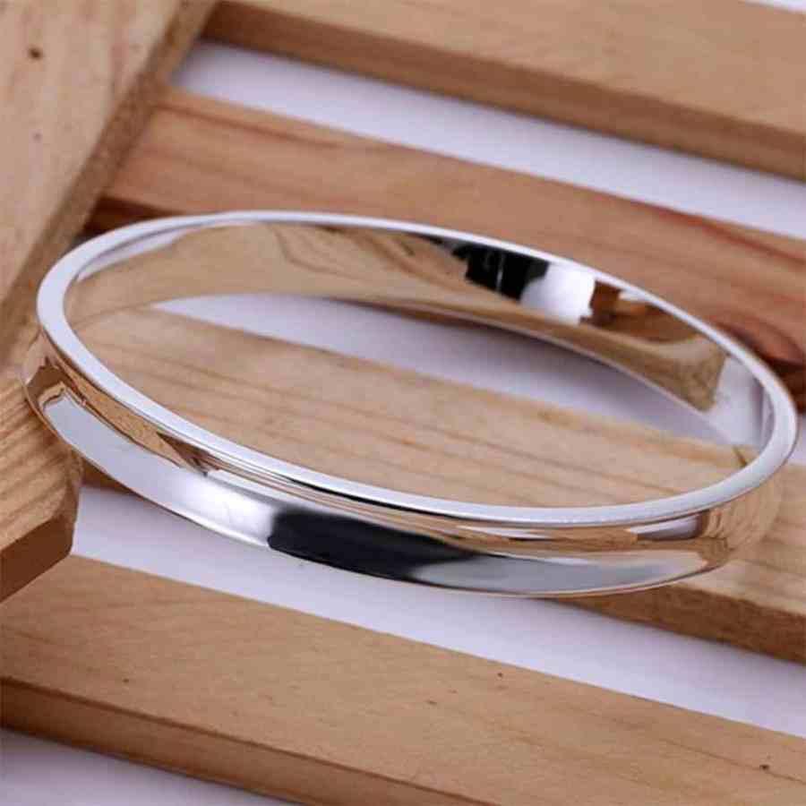 Silver plated bangle base bracelet 6.5cm 4