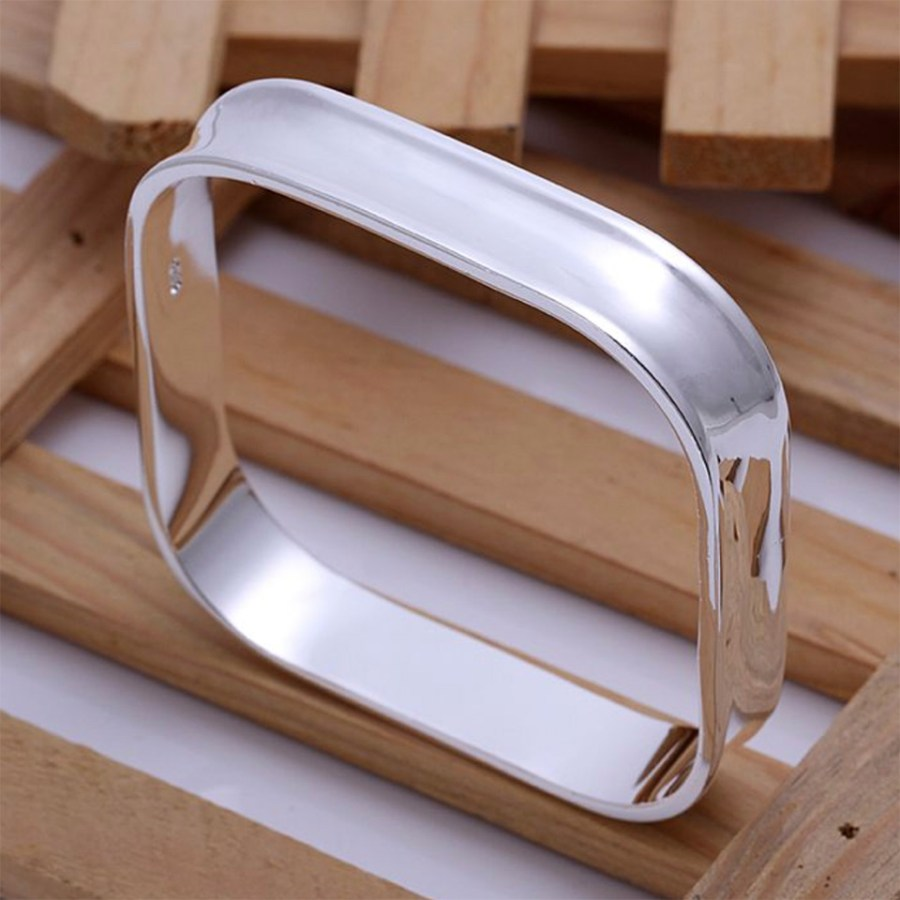 Silver plated square bangle base Bracelet 6.5cm 1