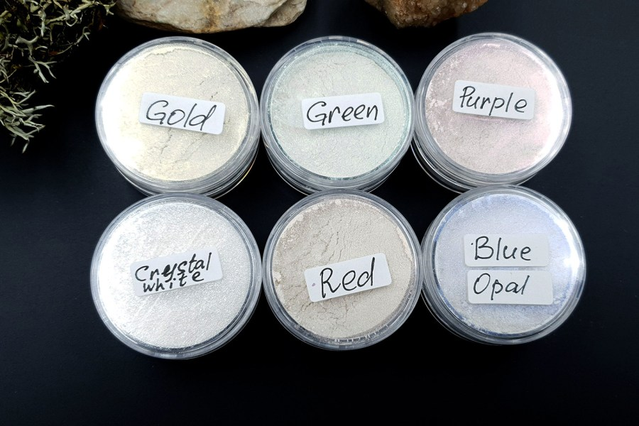 5 colors Chameleon powders + 1 Crystal White Pearl powder 2
