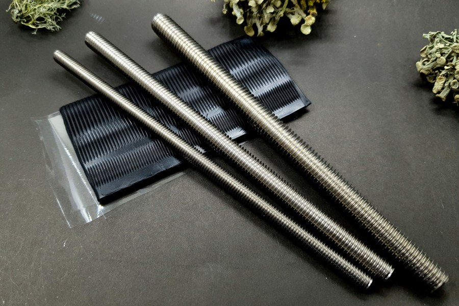 Set of 3 pcs textured metal rod tool for polymer clay 1