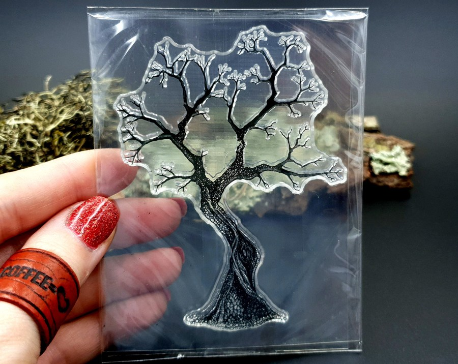 "Clear Silicone Stamp ""A Tree"" for Polymer Clay 1"