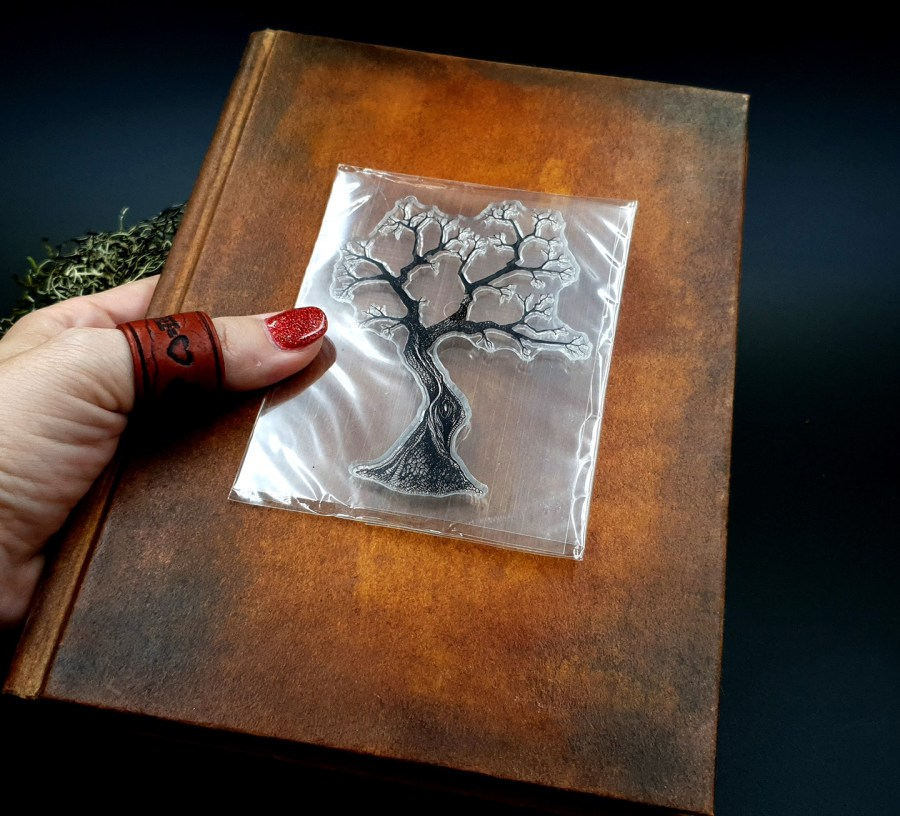 "Clear Silicone Stamp ""A Tree"" for Polymer Clay 3"