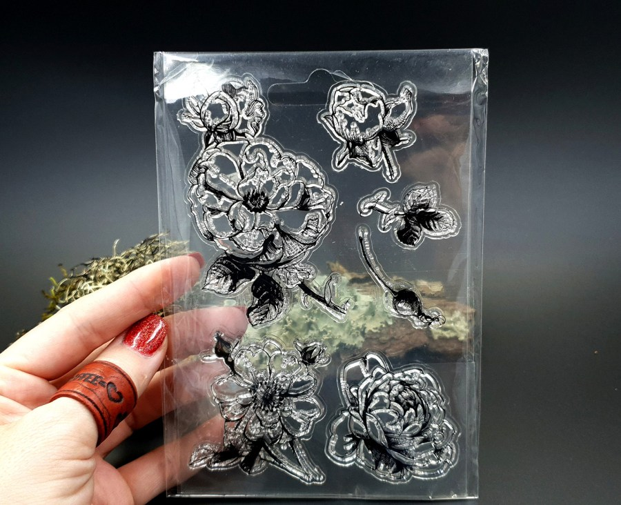 "Clear Silicone Stamp ""Flowers"" for Polymer Clay 5"