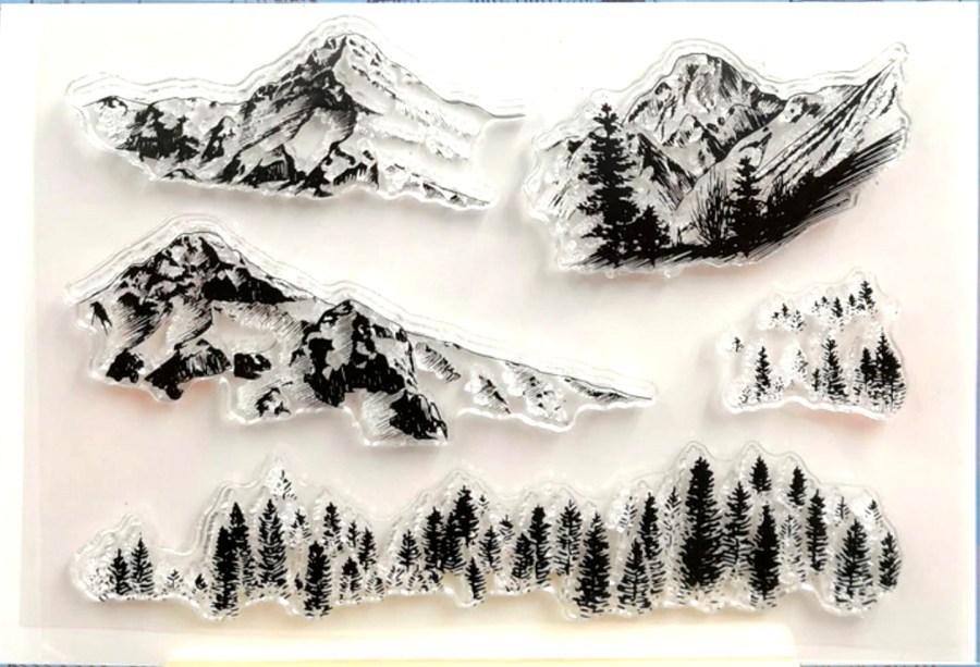 "Clear Silicone Stamp ""Mountains"" 4"