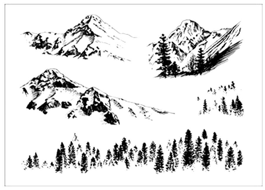 "Clear Silicone Stamp ""Mountains"" 6"