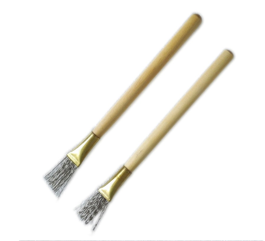 2 pcs Wooden Handle Thick/Thin Iron Wire Brush Clay Tool 8