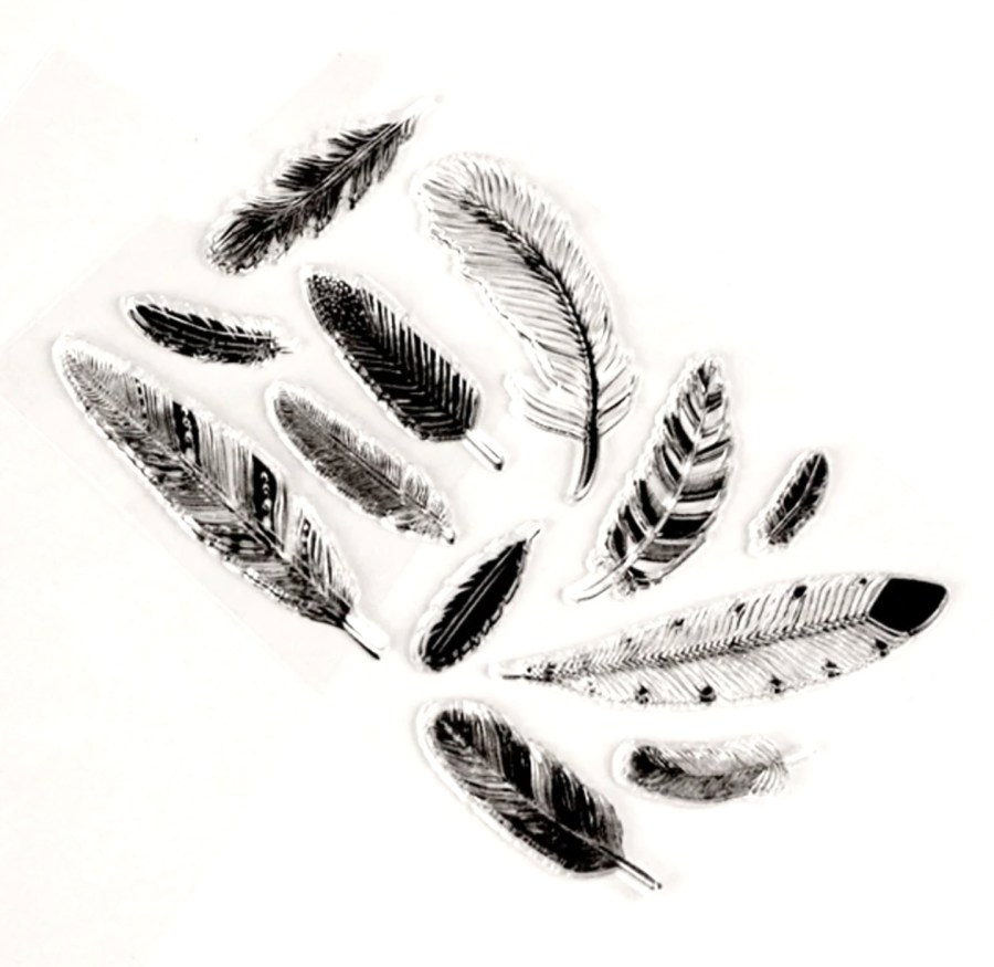 """Clear Silicone Stamp """"Feathers"""" 4"""