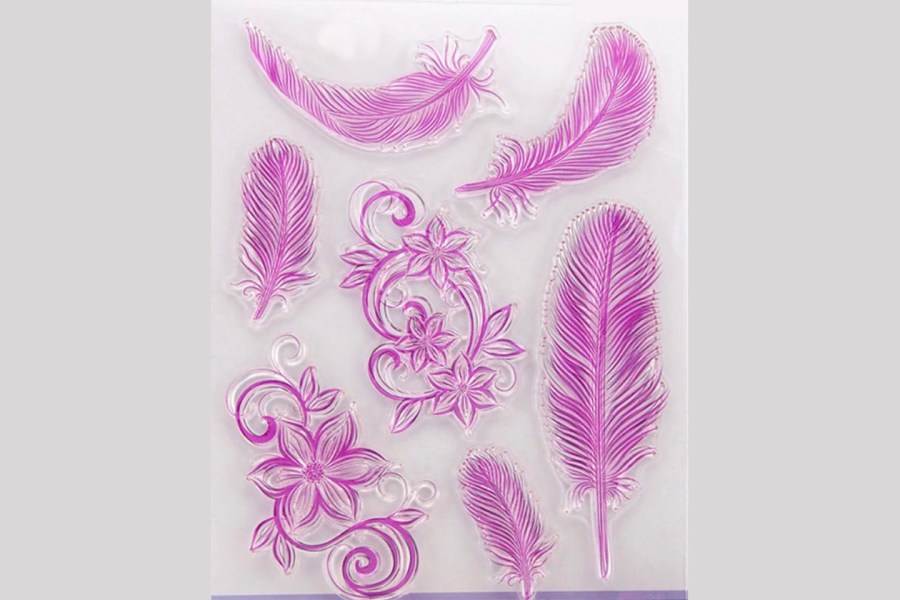 "Clear Silicone Stamp ""Feathers"" for Polymer Clay 3"