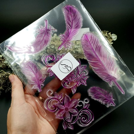 """Clear Silicone Stamp """"Feathers"""" for Polymer Clay"""