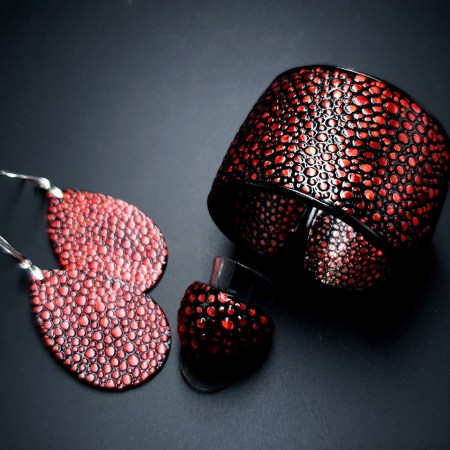 Jewelry Set Red Dragon Treasure Bracelet Ring Earrings