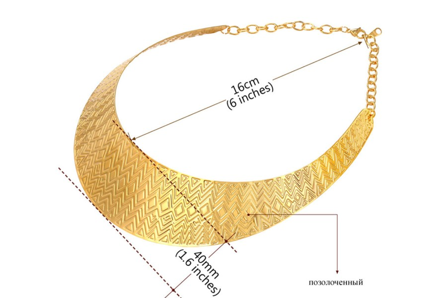 Metal Base Zigzag Pattern Golden Necklace 10