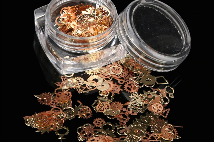 Copper and Gold Metal Micro Gear Mixed Steampunk Watch Parts 1