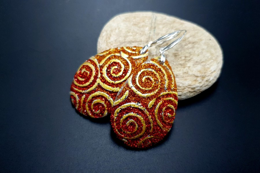 Golden Red Earrings 2