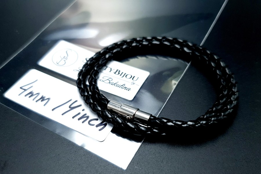 Black Leather Cord, 14inches/35cm 4
