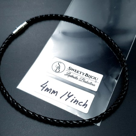 Black Leather Cord, 14inches/35cm