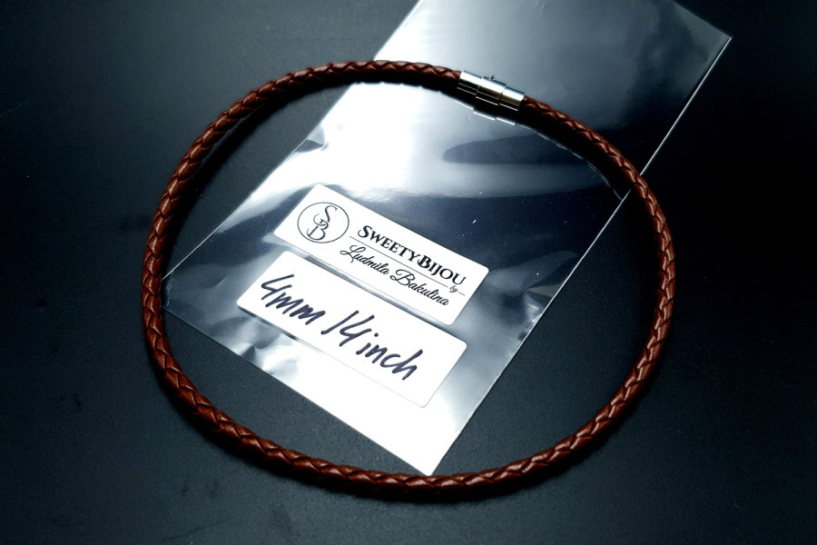 Brown Leather Cord, 14inches/35cm 1