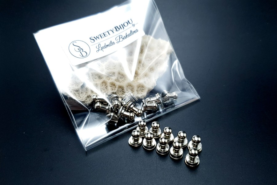 Silver Closers Screw Nail Rivet, 10pcs 12