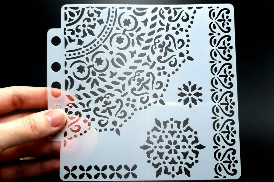 """Set of 4 pcs """"Floral"""" Plastic Stencils 7"""