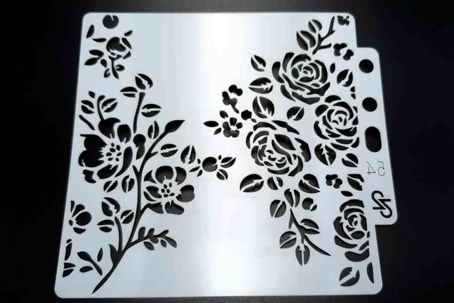 """Set of 4 pcs """"Floral"""" Plastic Stencils 12"""