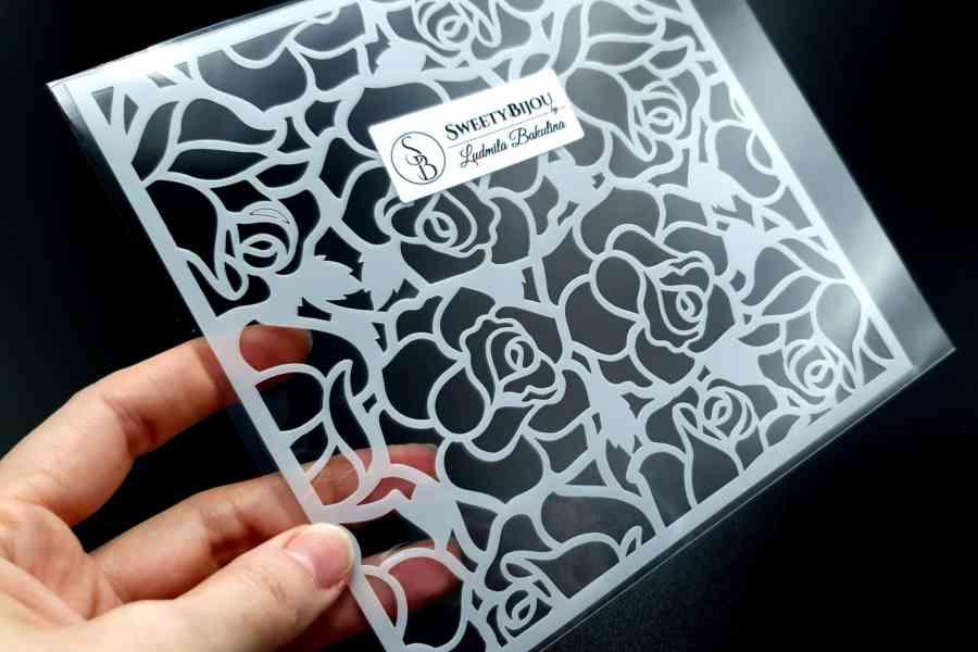 """Roses"" Plastic Stencil (1pcs) 1"