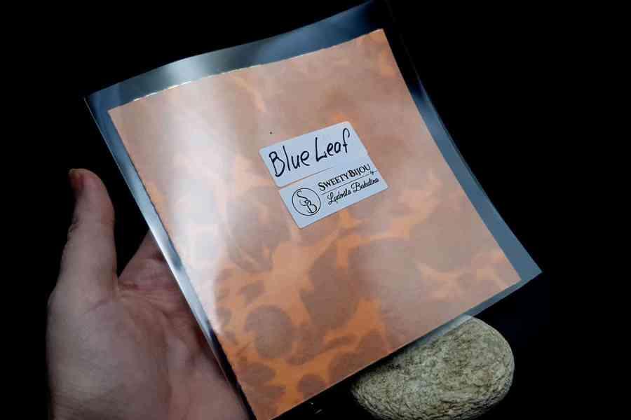 Blue Metal Leafs (5pcs 14x14cm) 2