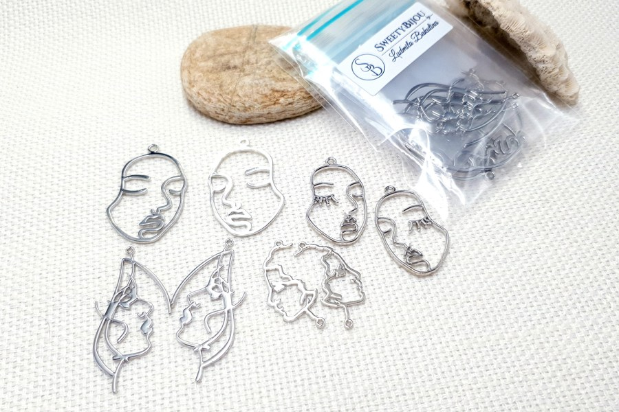 Faces - Set of 8pcs Silver Color Metal Jewelry Findings 4