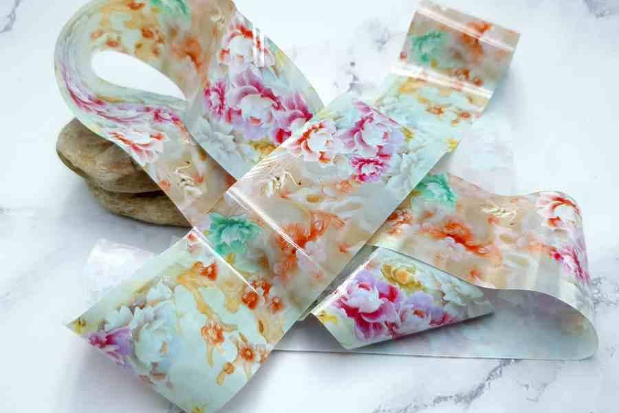 Peonies Flowers Pattern - Transfer Foil pattern 1 pc - 4x100cm 2
